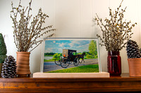 clear image horse and buggy, 15x10 w holder on mantel_DSC8884