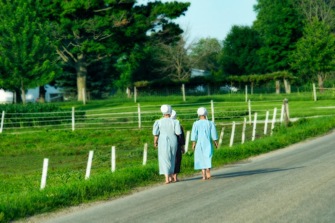 Barefoot Amish Girls Walking Home
