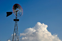 Windmill and White Clouds